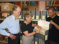 Michael Ryan is the new Director of the Rare Books and Manuscripts at Columbia University's Butler Library, NYC, Ellen Moore, AIUSA staff liaison with Columbia University overseeing the AIUSA Archives Program and Csaba Szilagyi is the curator for the Center for Human Rights Documentation and Research at Butler Library - Columbia U.
