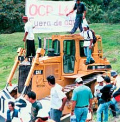 Residents of Mindo take over OCP tractors