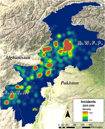 Heat map of insurgency and security related incidents in northwestern Pakistan.