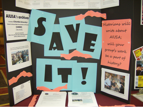 AIUSA Archives display at the regional conferences and Annual General/Human Rights Meetings. Attendees are encouraged to help reserve the AIUSA legacy by depositing all and every human rights letter, press release, government reply, and newsclip at CHRDR.