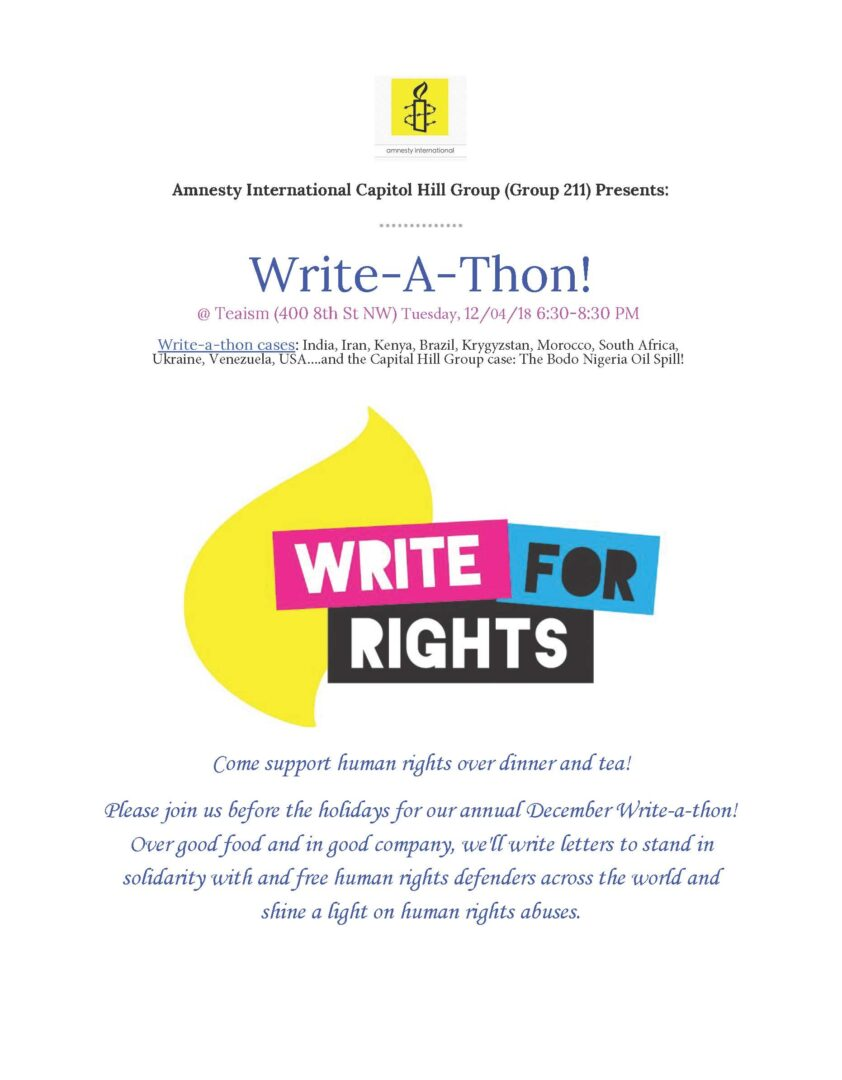December 2018 Write-A-Thon! – Amnesty International USA