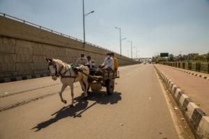Indians travel on a horse drawn vehicle on a deserted road as a nationwide lockdown continues